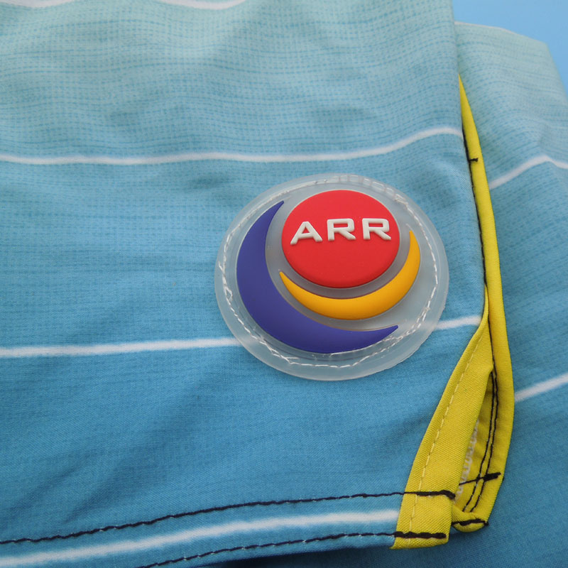 customized transparent pvc patch label for swimming trunks