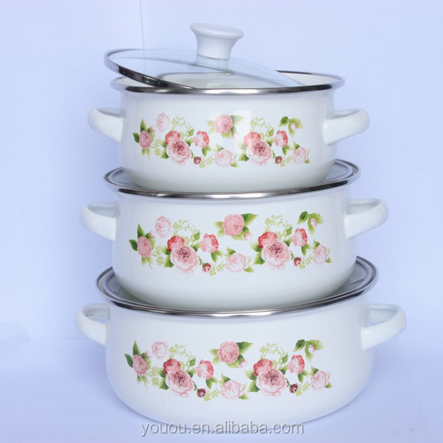quality guarantee 3 pcs enamel mini casserole set with glass lid and pink flower