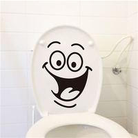 Colorcasa wholesale vinyl toilet sticker happy face toilet decor waterproof wall sticker removeable wall sticker(ZY342)
