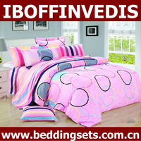 Circle and stripe design with pink background king bed cover set