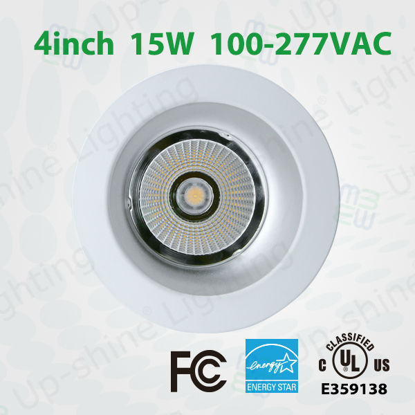 "5years warranty led lights A C100-277V 920-1020lm high output LED downlight 4"" 15W/25W UL cUL ES COB LED dimmable downlight"