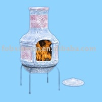 large indoor terracotta chiminea with grill