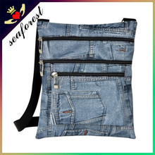 Denim printing design unisex small lightweight sling bags
