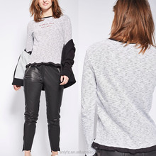 Anly stylish clothing long sleeve frill french stripe embroideried t shirt wholesale china