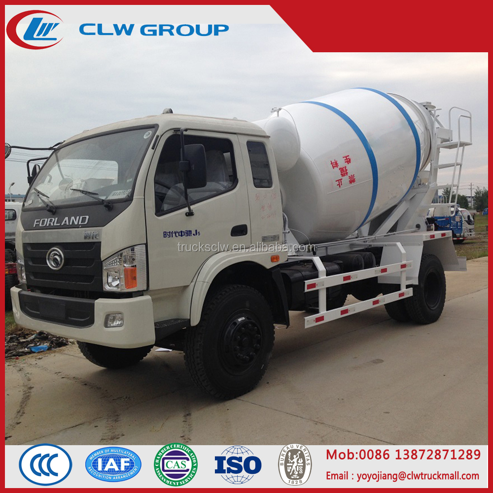 2 axles mini Foton 3 ton concrete mixer truck