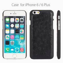 Soft cover luxury genuine ostrich leather case for iphone 6