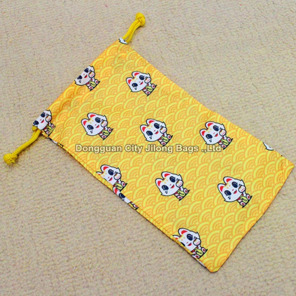 custom fabric drawstring jewelry pouch cotton pattern