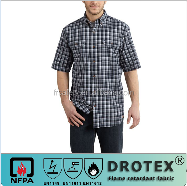 Long sleeve NFPA 70 E NFPA2112 fire retardant grid casual shirts with pointed collar