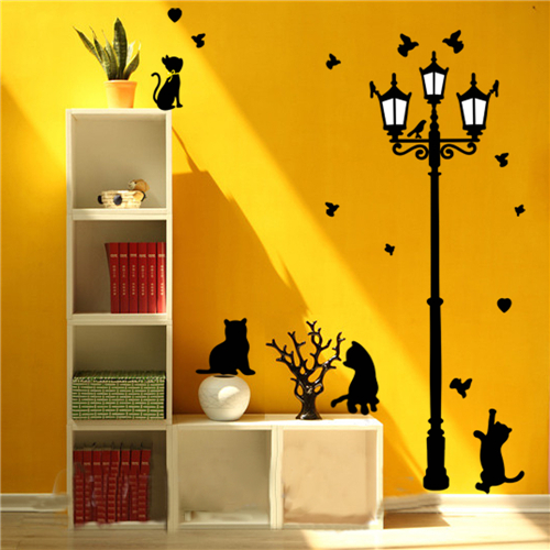 Colorcasa removable wall sticker PVC wall paper ZY030 cats&street light 3D wall sticker art home decor for living room