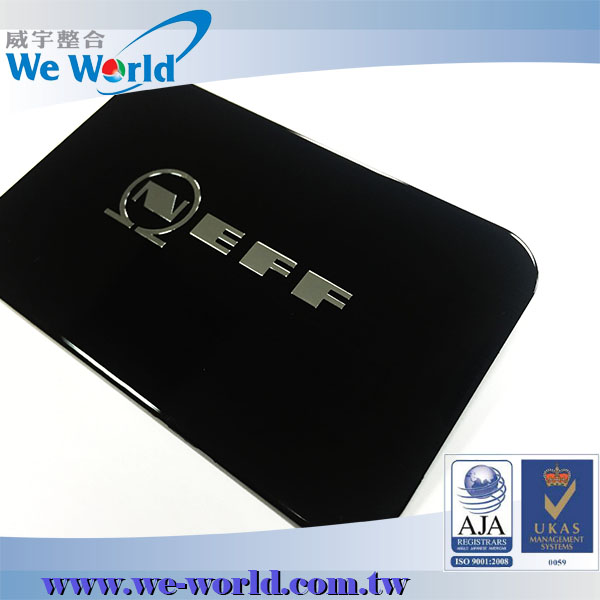 Bright finish durable self adhesive glossy tv brand logos