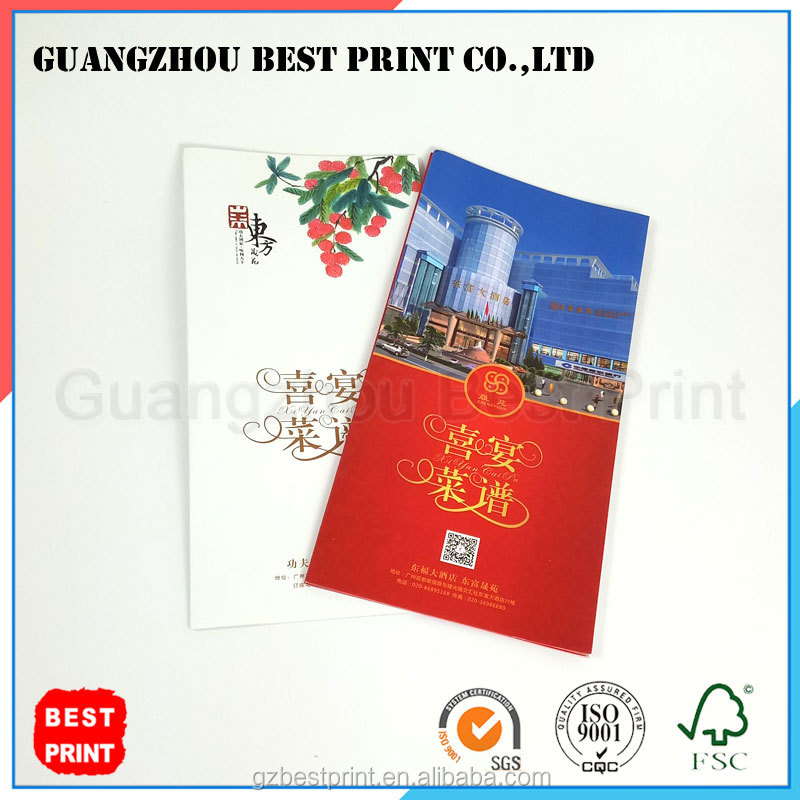Factory custom greeting cards coated paper wedding banquet menu brochure <strong>printing</strong>