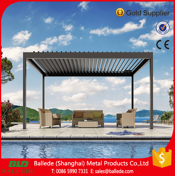 Outdoor Aluminum pergola with adjustable rainproof roof louver