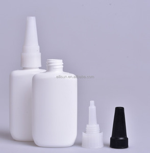 white oval hdpe plastic super glue bottle with nozzle
