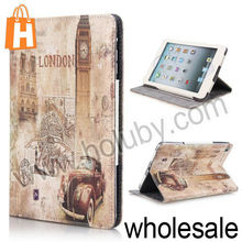 Retro Big Ben Pattern Magnetic Cover Folio Stand Leather Case for iPad Mini/Retina iPad Mini