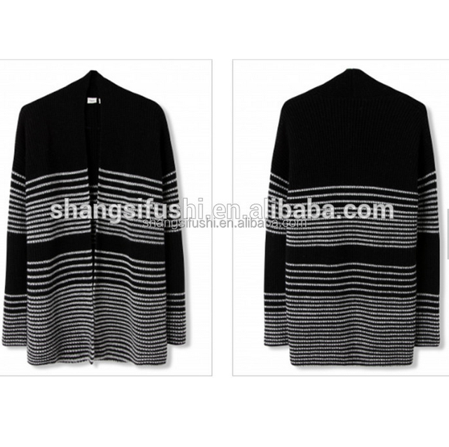 Merino Gradient ramp Striped Cardigan Long Sleeve 2GG Knit Sweater for Ladies