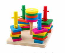 Wooden Toys Stack & Sort Puzzle Colour and Shape Recognition Geometric Board for Babies Kids Toddler