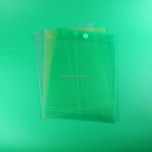 vertical sticker closure plastic document bag in A4 size, clear pp file holder, presentation file folders