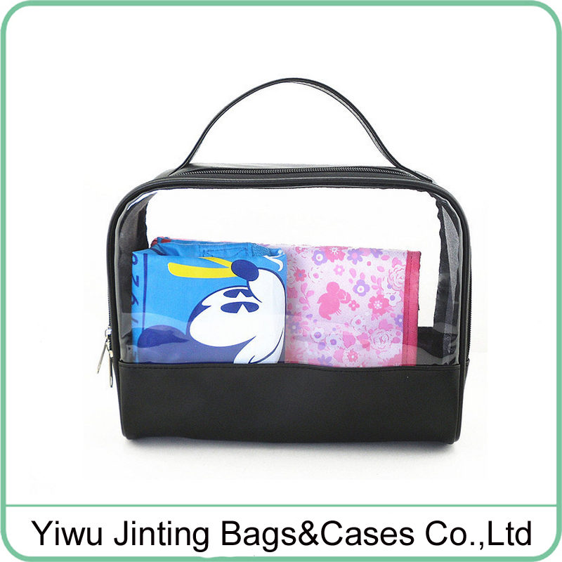 Black pu leather trimed PVC Makeup bag Cosmetic Organizer for <strong>travel</strong>