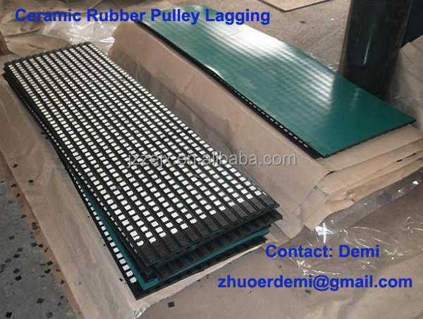 Ceramic Lagging- Highest coefficient of friction/natural rubber sheet for conveyor pulley lagging
