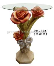 HOT SELLING polyresin flower telephone table , coffee table crystal table with glass top