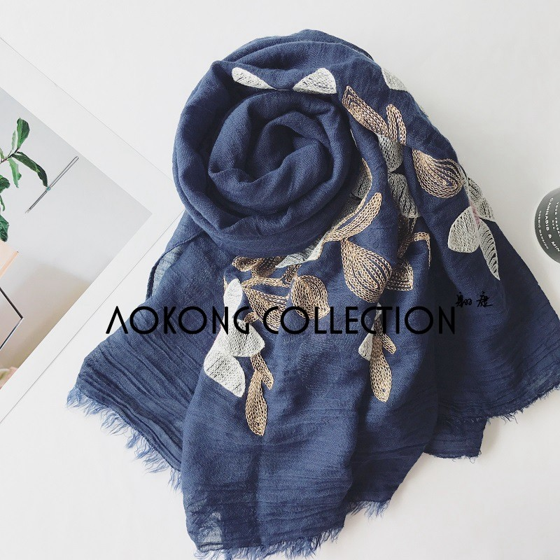 Ladies new fashion plain embroidery floral lace frayed cotton hijab scarf