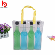 Eco-friendly transparent pvc ice bag for wine bottle