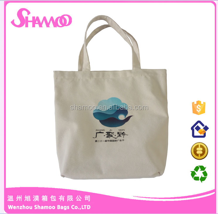 recycled custom foldable promotional handle cotton shopping bag