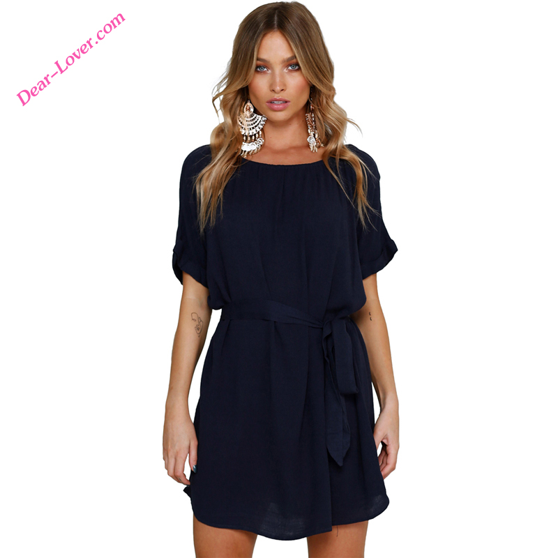 Wholesale Chic Short Mini Chiffon Summer Dresses Women Dress
