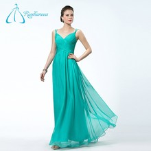 Latest Style New Design Chiffon Pleat Green Prom Dress Gown