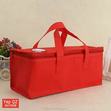 Factory price promotion red color non woven reusable custom tote extra large insulated cooler bag