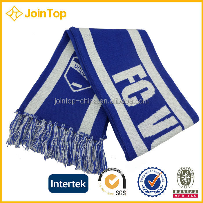 Jointop China Manufacture Adults Screen Printed Football Fan Scarf
