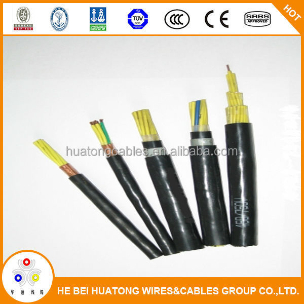 China pvc color code telecom 450/750V copper control cables