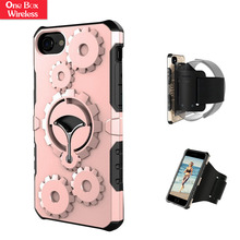 For iPhone 6/6S Plus 3D Armor Gear Case,Gemwon Wheel Rotating Stand Protective Case Cover with Arm Strap for iPhone 6/6SP