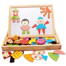 Wood Jigsaw Puzzle cute baby kids toys drawing board Magnetic wooden puzzles