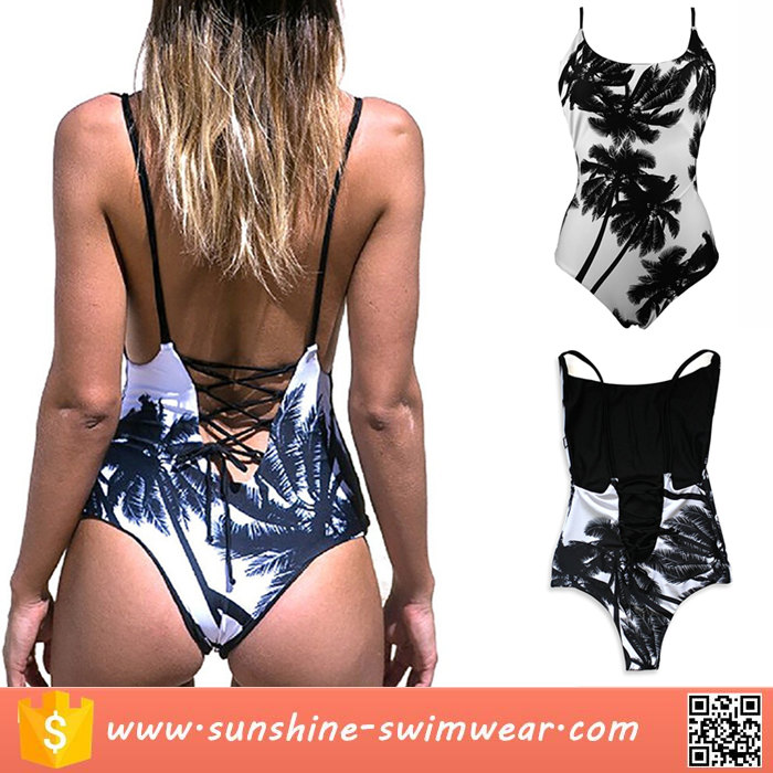 Women Palm Tree Reversible Lace Up Bandage One Piece Swimwear