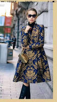 SST-SA 2015 Runway Royal Retro Plus XLGolden Print Brand Full Sleeve Slim Coats