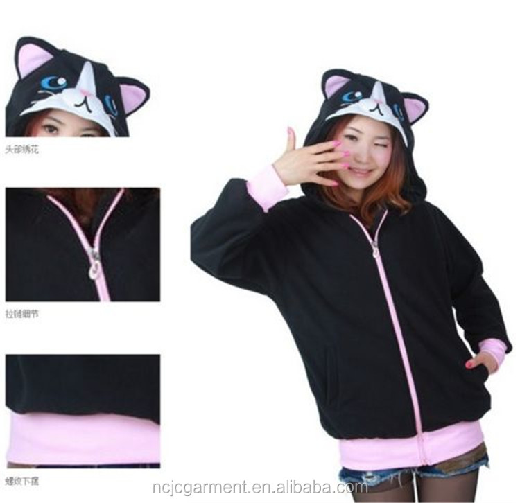Women's Black Cat Hoodie Sweatshirt Jacket Long Sleeve Jacket With Hat Winter