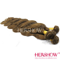 High quality raw cheap light brown color brazilian human hair sew in weave