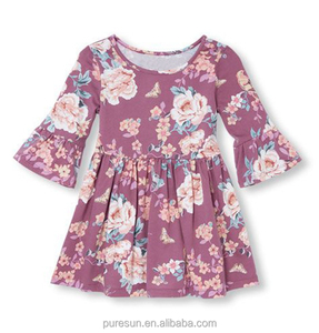 LONG SLEEVE FLOWERS PRINT KIDS CASUAL DRESSES