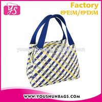 New Arrival Blue Stripe Printing PU Leather Handbag and Lunch Bag for Promotion