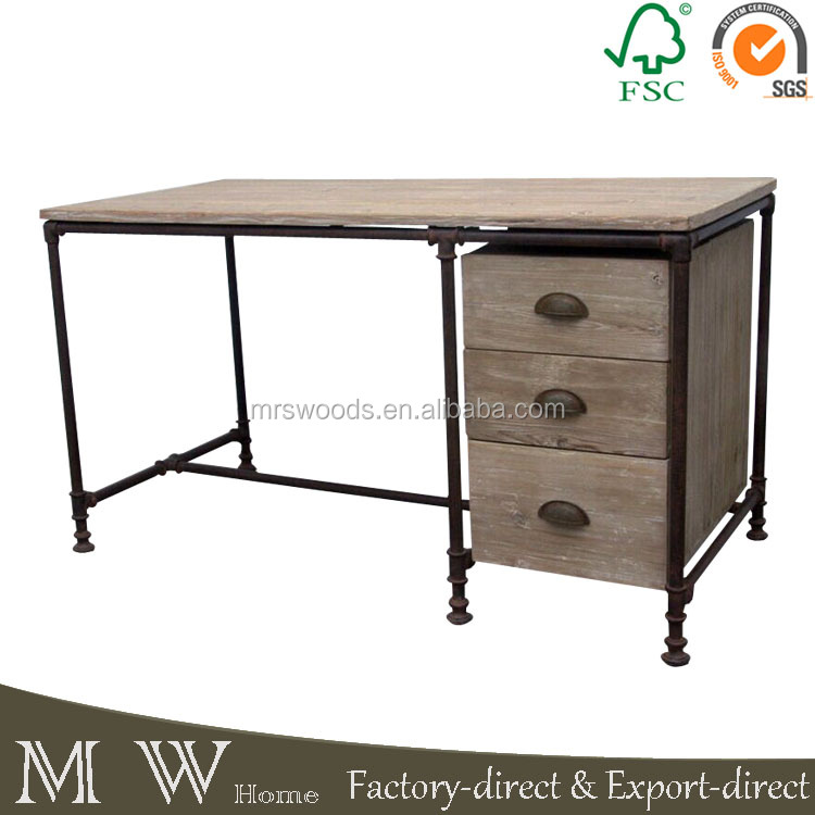 vintage rustic style metal frame recycled wood top 3 drawer office desk