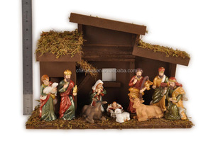 Christmas resin nativity wood house and figurines set souvenir