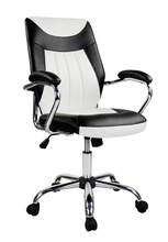 high back white and black luxury executive ripple leather office chair with armrest
