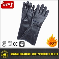 NEWSAIL good quality Cotton Interlock full coated black PVC gauntlet heavy rough glove/safety glove/anti water gloves