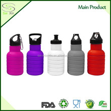 BPA Free Environmental 550ml Folding Portable Water Bottle with straw lid for Outdoor Camping Sports