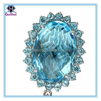 special aquamarine oval shaped cubic zirconia necklace