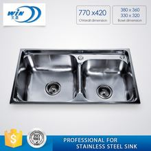 Double Bowl Stainless Steel Sinks With Fixing Clip