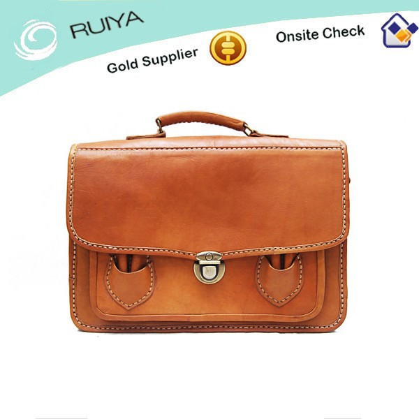 High Quality Portable Brown Briefcase Leather Bag -Medium Suitcase Hand Stitched