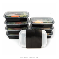 10-pck 600ml black plastic microwaveable & Freezer compartment disposable food container with clear lid