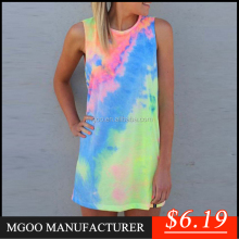 MGOO New Arrival Stock Tie Dye Print Women T-shirt Cotton Sleeveless Long Women Tee Tops Z579